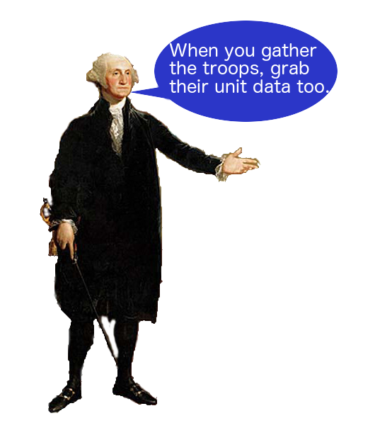 'Statue of George Washington with Speech Bubble'